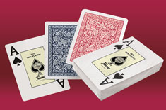 Highly durable 100% plastic Fournier playing cards that always recover their original shape, ideal for casino and poker room.