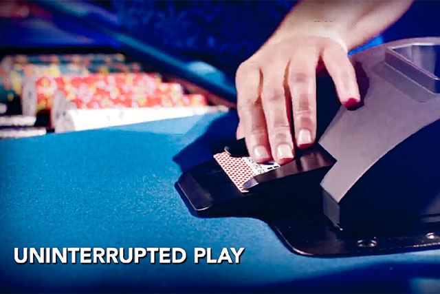 SHUFFLESTAR™ low profile design improves lines of sight and effortlessly delivers up to three cards per second. New security features further improve casino operations and game play.