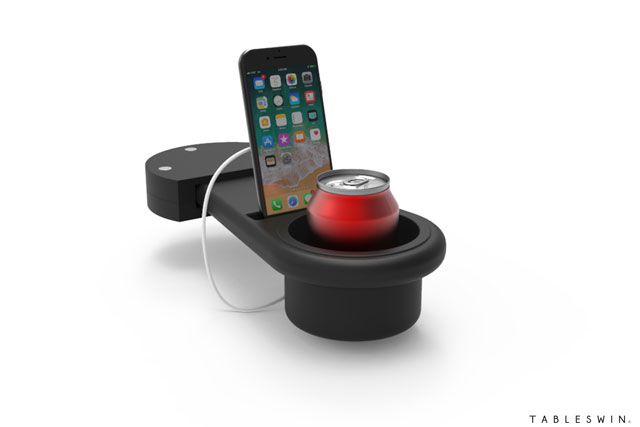 Table integrated drinks holder, mobile phone stand & USB charger