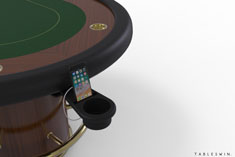 Multitasking accessory for the poker table with integrated cup  holder, phone stand & USB charger maximizes player comfort for longer game sessions