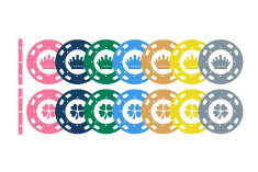 Color chips for casino american roulette tables, jetons, plaques